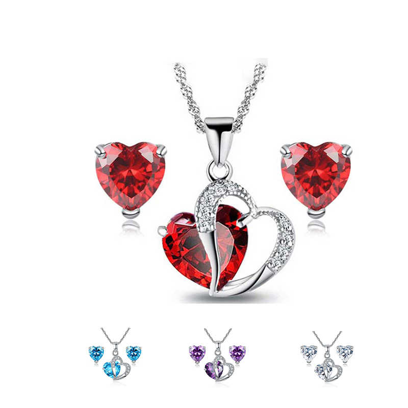 Beiver Heart CZ Jewelry Sets for Women Rhodium Plated Red AAA Cubic Zirconia Necklace & Earrings Bijoux Femme Free Shipping