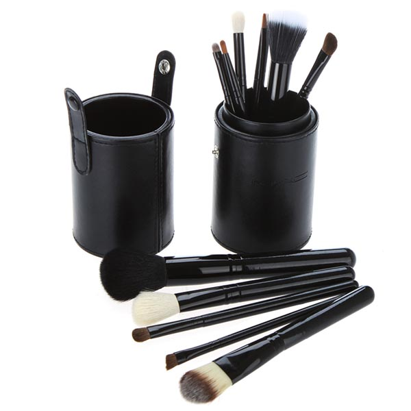 Professional Makeup Brush Set 12pcs 12  Cosmetic Brush Kit Makeup Tool with Cup Leather Holder Case Rose Purple Black Green professional 13 in 1 piano tuning maintenance tuning tool kit with portable pu leather case easy operate