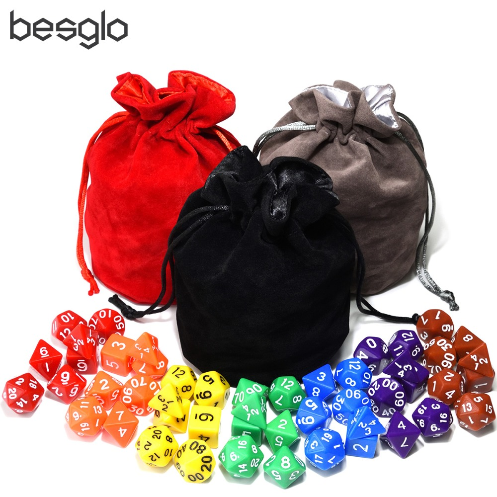 Rainbow Colorful Series Bundle Of Dice With 1pcs Big Drawstring Pouch For RPG MTG Board Games D4 D6 D8 D10 D% D12 D20