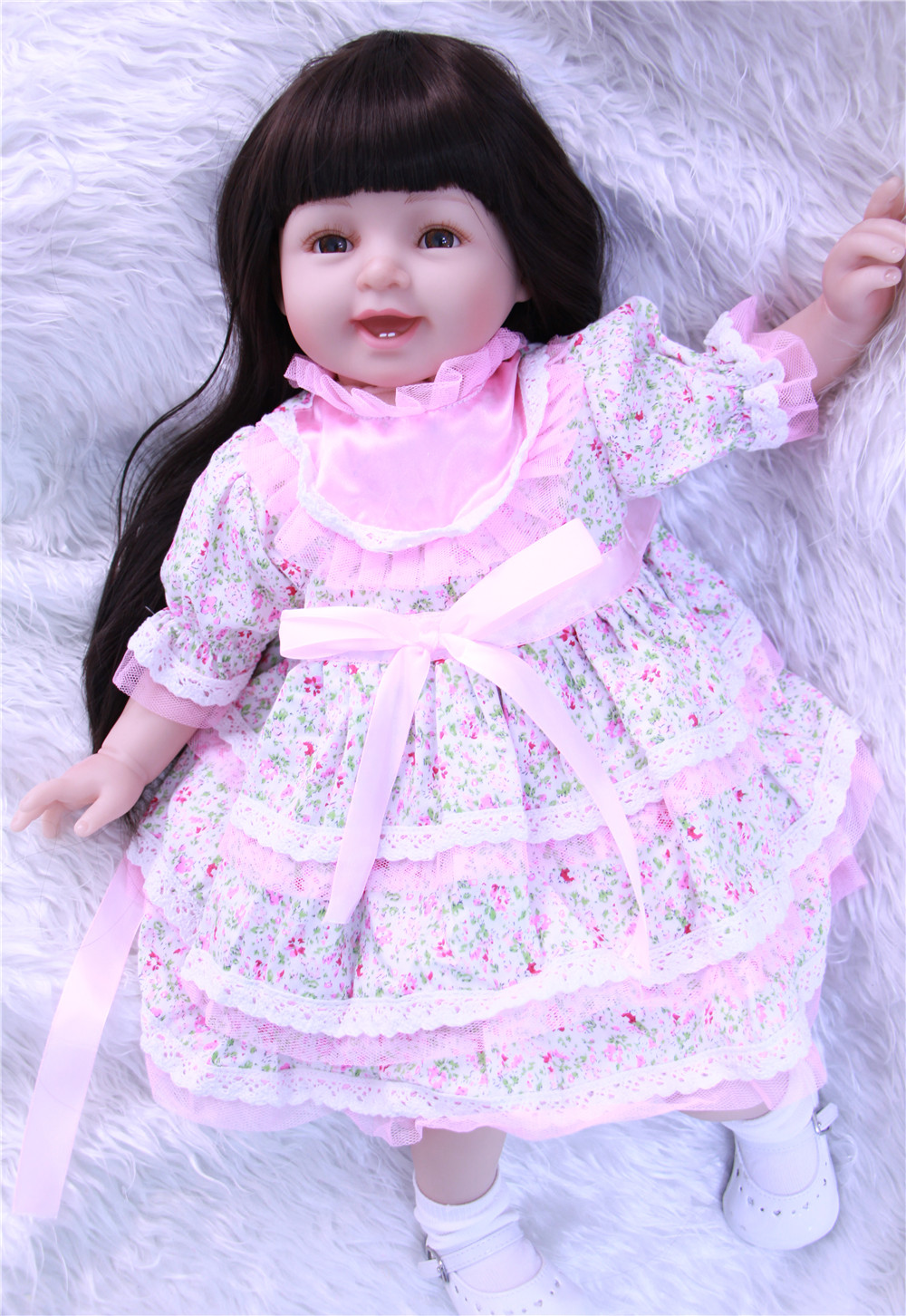 Silicone reborn dolls 22 american princess Girl Dolls  Long Hair wigs fashion Dress children gift boneca reborn realistaSilicone reborn dolls 22 american princess Girl Dolls  Long Hair wigs fashion Dress children gift boneca reborn realista