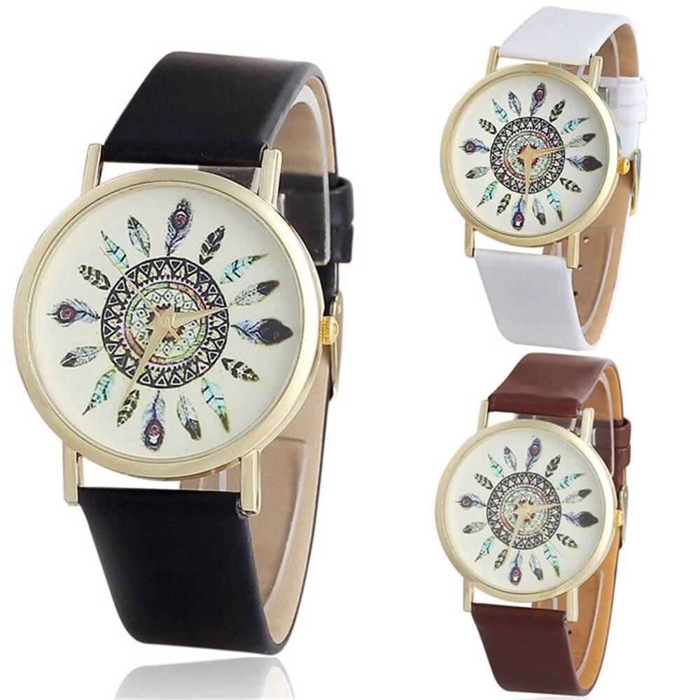 3 Color Womens Vintage Feather Dial Leather Band Quartz Analog Unique Wrist Watches