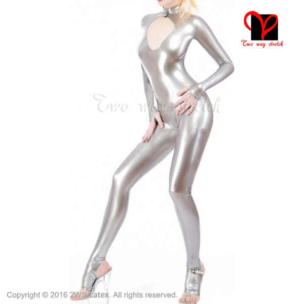 Silver Sexy Latex Catsuit open front crotch zipper Rubber socks open feet  stockings Jumpsuit Unitard overall XXXL plus LT-066