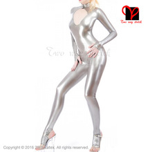 Silver Sexy Latex Catsuit open front crotch zipper Rubber socks open feet stockings Jumpsuit Unitard overall XXXL plus size
