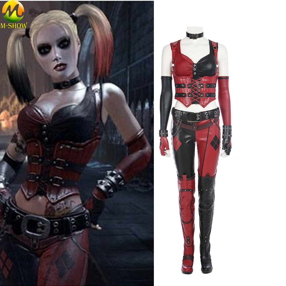 Batman Arkham City Harley Quinn Cosplay Costume Women Sexy Game Cosplay Costume For Halloween Custom Made
