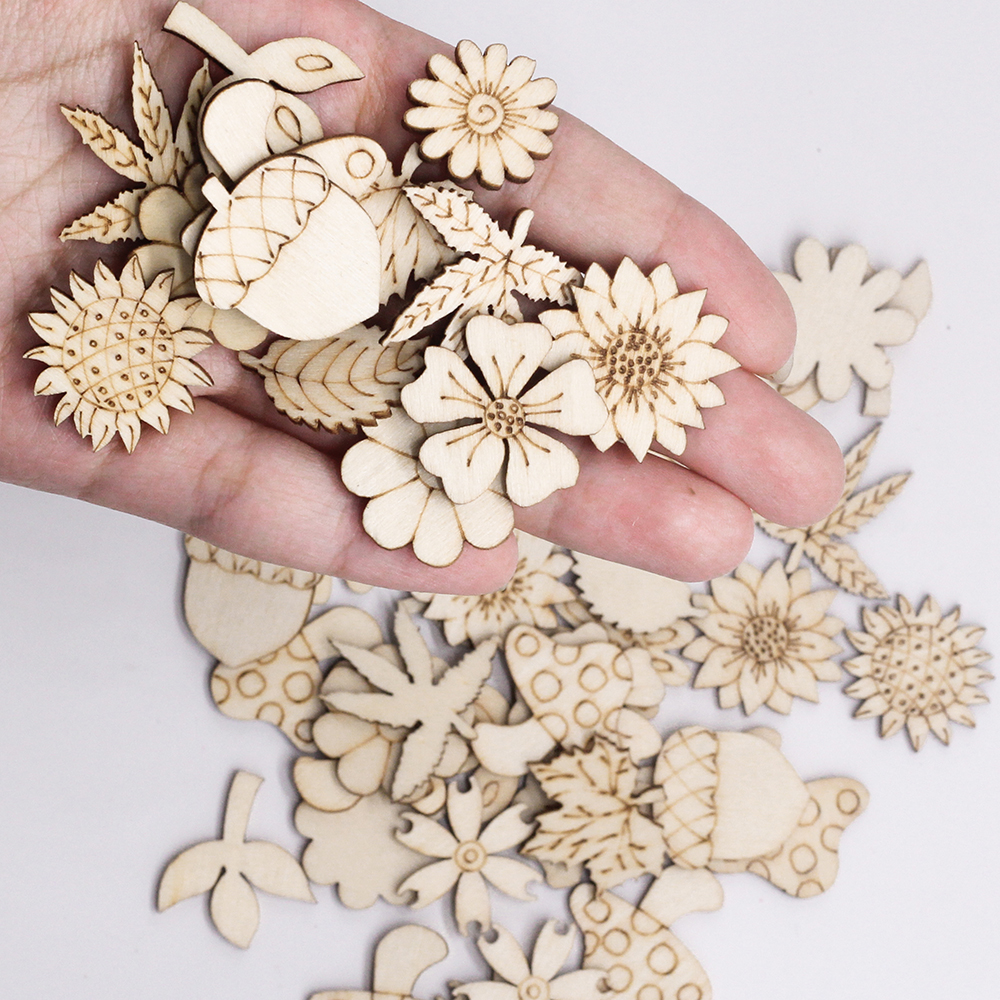 50PCS Natural Mix Plant/Flower/Grass Pattern Wooden Scrapbooking Sewing Craft DIY Nut Leaves Pattern Wooden Embellishment