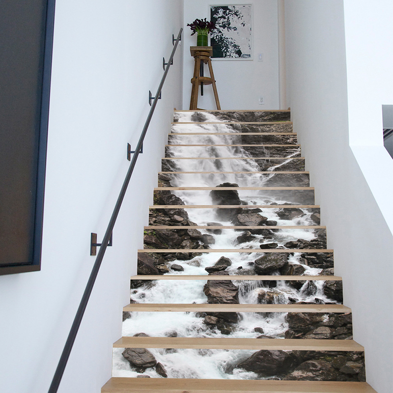13Pcs/Set DIY 3D Stairway Stickers Waterfall Stairs Stickers Fall Floor Wall Decor Decals Sticker Living Room Decoration