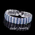Luxury Cubic Zirconia Sapphire Jewelry White Gold Plated Big Light Blue CZ Diamond Women Bracelets Bangles CB143