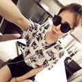 2017 Shirt Women Camisa Feminina Korean Printed Cat Camiseta Gato Blusas Temininas Summer Tops Shirt Woman  Vetement Femme