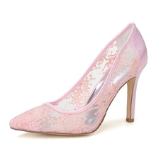 Sweet pointed toe see through breathable summer style pumps wedding party homecoming mother shoes pink black white 10cm heels