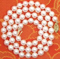 Noble Women Gift 17INCH 14K GOLD CLASP HUGE SALE AAA 6 7mm Natural AKOYA Saltwater Pearl