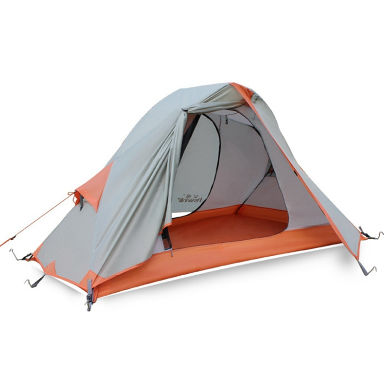 Outdoor Camping Tent Single Person Double-layer Waterproof Windproof Aluminum Rod Cycling Tourist Tent hillman 3 4 person double layer ultralight silicon tent 2d silicone coated nylon waterproof aluminum rod outdoor camping tent