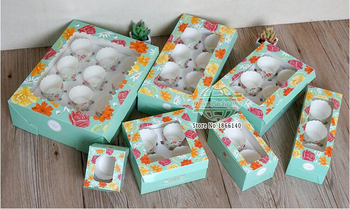 5 Size Blue Color Cupcake Box With pvc Window  Wedding Favors Gift Paper Box For CupCake Packing100pcs\lot Free shipping