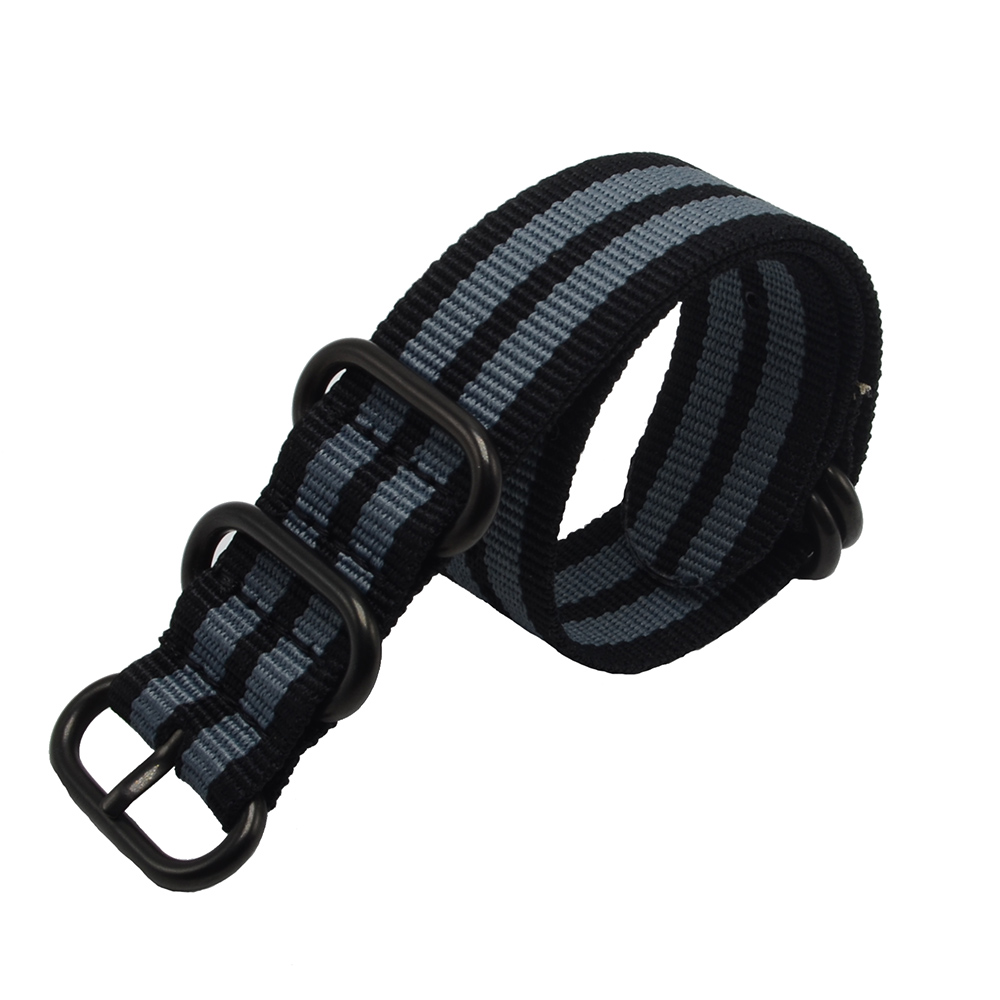 1PCS Heavy Duty 22MM Nato Watch Strap 3.0 5 anillos James Bond Black Buckle Watch Band 5 colores