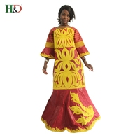 2016 African Women Fashion Dress Cotton Bazin Riche Dress For Women Straight Big Line Type Style