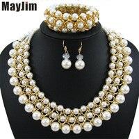 Collana di dichiarazione 2017 fashion jewelry set Handmade bead catena grande Perla dubai set di gioielli beads Vintage Bijoux Accessori