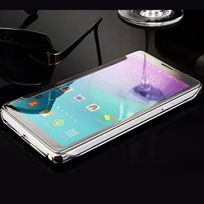 buy popular eaf65 6dbb0 US $4.67 |Luxury Smart Flip phone cover For Samsung Galaxy Note 5 N9200  Electroplating Mirror Hard crystal Clear View Case-in Flip Cases from ...