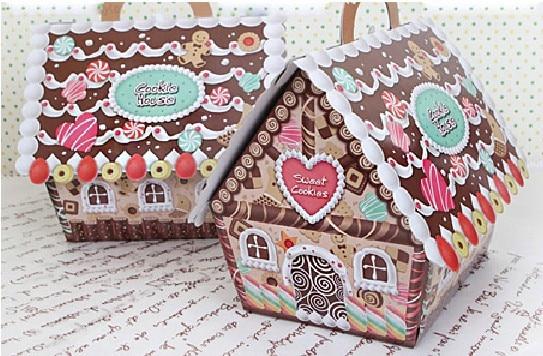 Nieuwe collectie kerst huis candy cookie box peperkoek huis doos