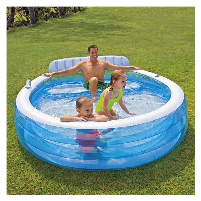 Inflatable Round Solid Color Swimming Water Pool Family Children Kid Bathtub 224*216*76CM  Piscina Bebe Zwembad A203 multi function large size outdoor inflatable swimming water pool with slide home use playground piscina bebe zwembad