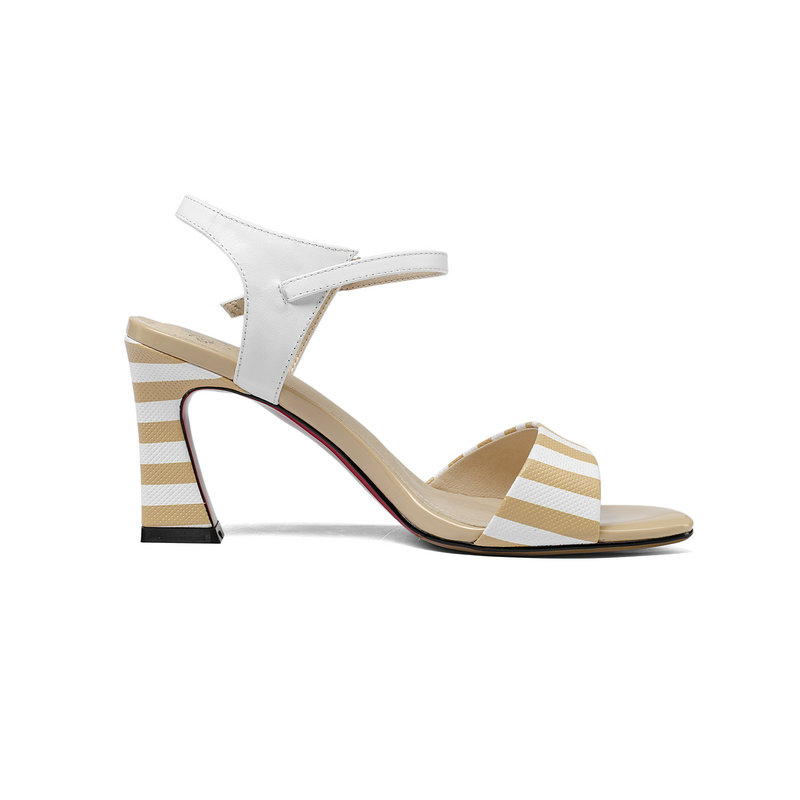 Salu Fashion High Quality Real Genuine Leather Sandals Summer Shoes Woman Ladies Elegant Black Shoes Sandals-in High Heels from Shoes    3