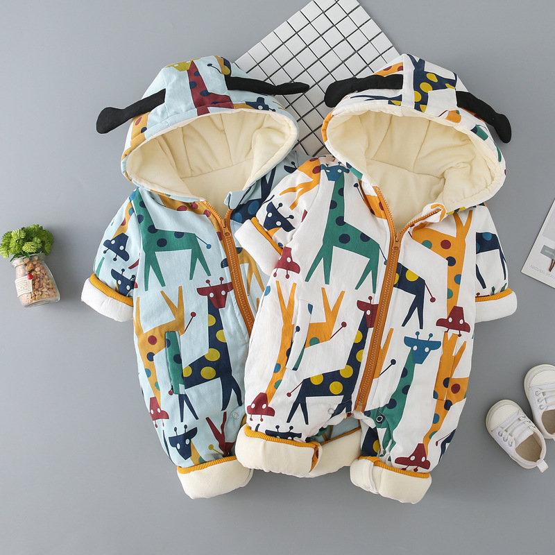 Anlencool Newborn baby clothes autumn and winter clothes and velvet thick warm year-old full moon romper baby Climbing clothes children autumn and winter warm clothes boys and girls thick cashmere sweaters