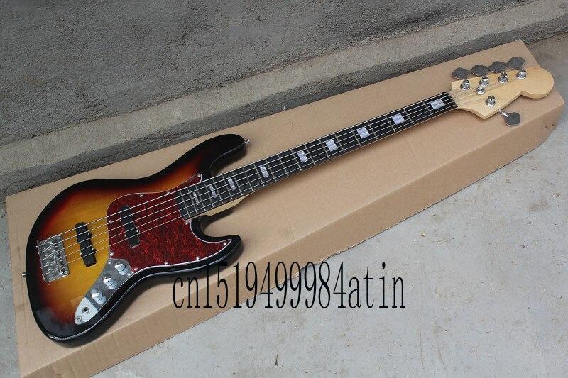 free shipping top quality 5 strings american standard jazz bass guitar sunburst body guitar 22. Black Bedroom Furniture Sets. Home Design Ideas