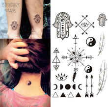 W13 1 Piece Hamsa Hand Temporary Tattoo With Ying Yang, Moon Phase, Feather Arrow Pattern Body Paint Tattoos