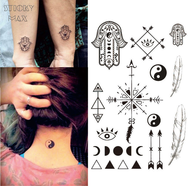 W13 1 Sztuka Hamsa Ręcznie Tymczasowy Tatuaż Z Ying Yang Fazy