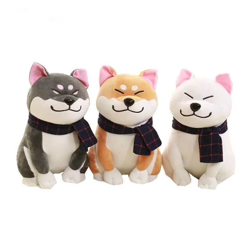 25cm Scarf Shiba Inu Dog Plush Toy Japanese Doll Doge Dog Stuffed Animal Toys Children Gift qwz1pcs 25cm cute wear scarf shiba inu dog plush toy soft animal stuffed toy smile akita dog doll for lovers kids birthday gift