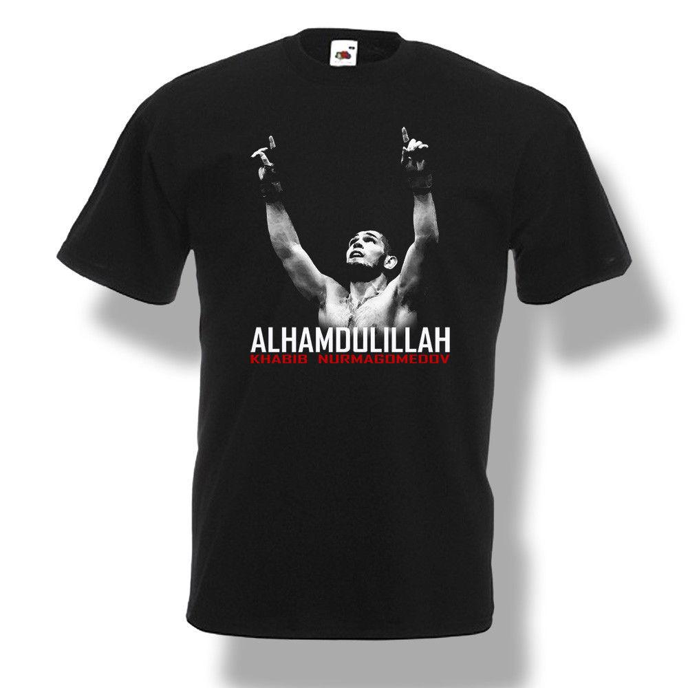 Khabib Nurmagomedov Alhamdulillah T-Shirt Fighter Men Black  2018 New Fashion Brand Men Tees Solid Color Short Sleeve
