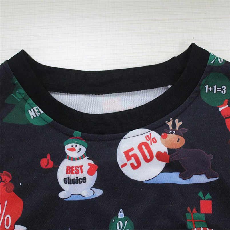 Natal Papai Noel Bonito Pullover Impressão Camisola Hoodies Outwear das Mulheres Padrões de Renas Boneco de Presente de Natal #0917