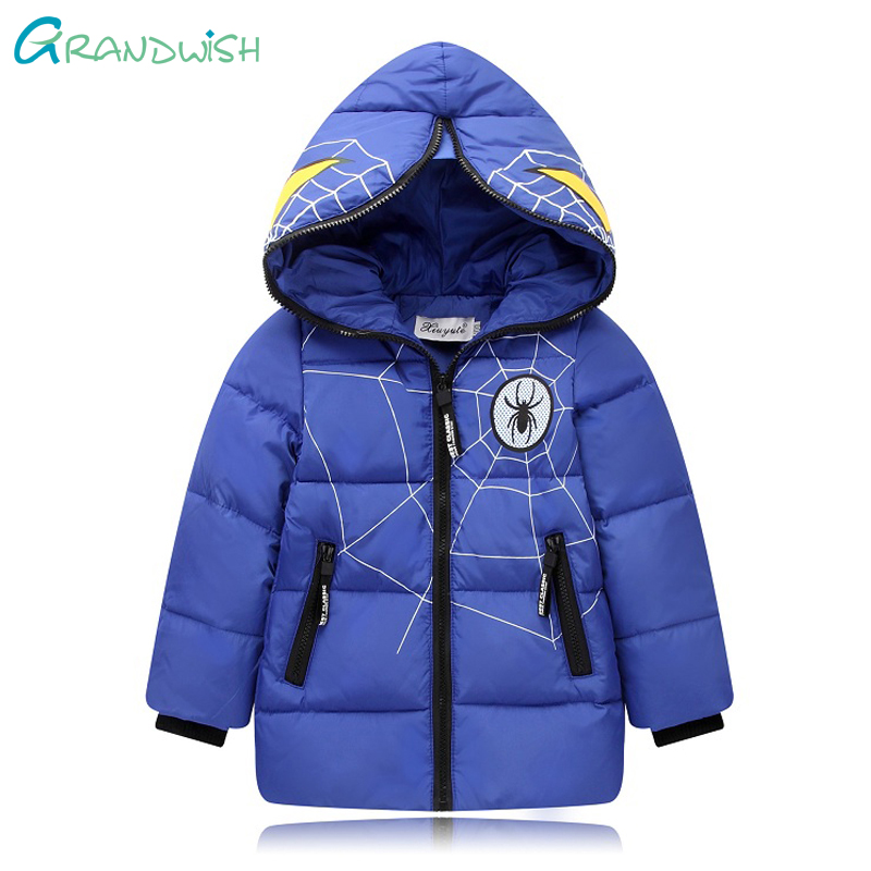 Grandwish Winter Down Hooded Jacket for Boys Children Warm Cartoon Long Coats Spiderman Outerwear for Clothes a Girl 3T-8T,TC106 children winter coats jacket baby boys warm outerwear thickening outdoors kids snow proof coat parkas cotton padded clothes