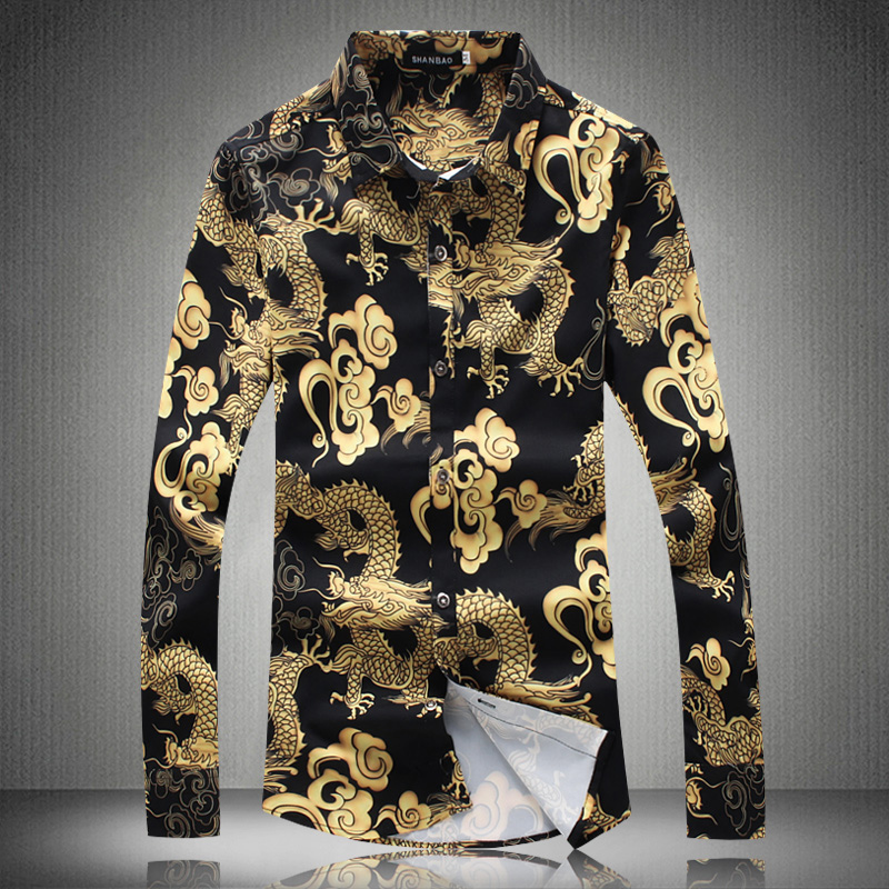 Men's Shirt 2019 New Fashion Chinese Style Aristocratic Dragon Pattern Man Shirt Long Sleeve Slim Fit Male Clothing M-5XL #18105