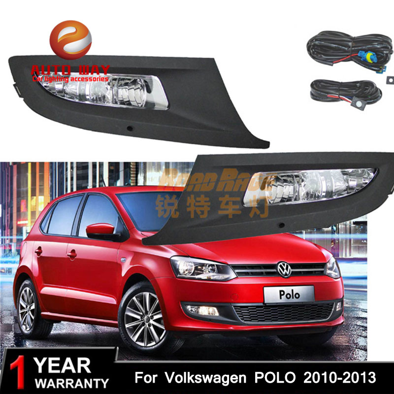 Car styling Halogen fog lights Car Black 2pcs Front Bumper Fog Light Cover Grille Fog Light Lamp for VW POLO 2010-2013 right side for vw polo vento derby 2014 2015 2016 2017 front halogen fog light fog lamp assembly two holes