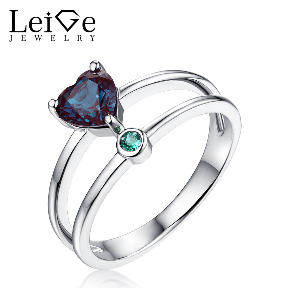 Leige Jewelry Heart Cut Double Band Ring Blue Alexandrite Ring Romantic Gift for Her Sterling Silver