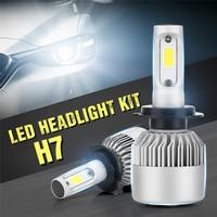 LIPLASTING 2PCS S2 H7 Car LED Headlights Bulb Fog Light Pure White 6000K 6500K Bulb