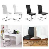 Panana 2 Pcs Chrome Dinning Chairs Leather Steel Chair Furniture Unique Shape Office chairs