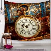 Vintage Retro reloj decorativo tapices de baño al aire libre tapiz pared colgante hoja Picnic tela decoración del hogar mantel