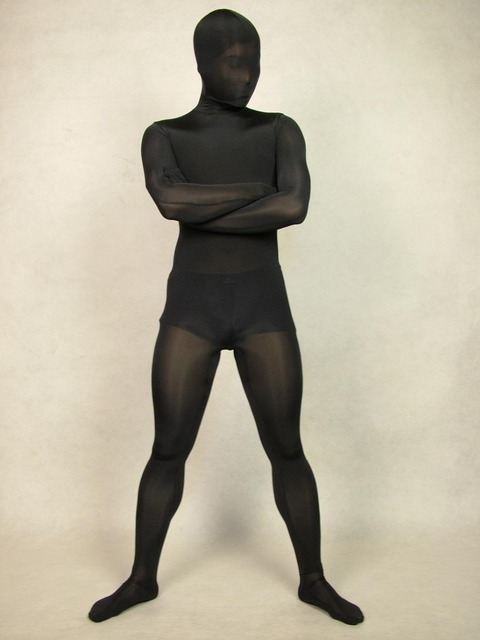 Black Transparent Spun Silk Lycra Spandex Zentai Sexy Suit Full Body Tights Costumes Super Smooth