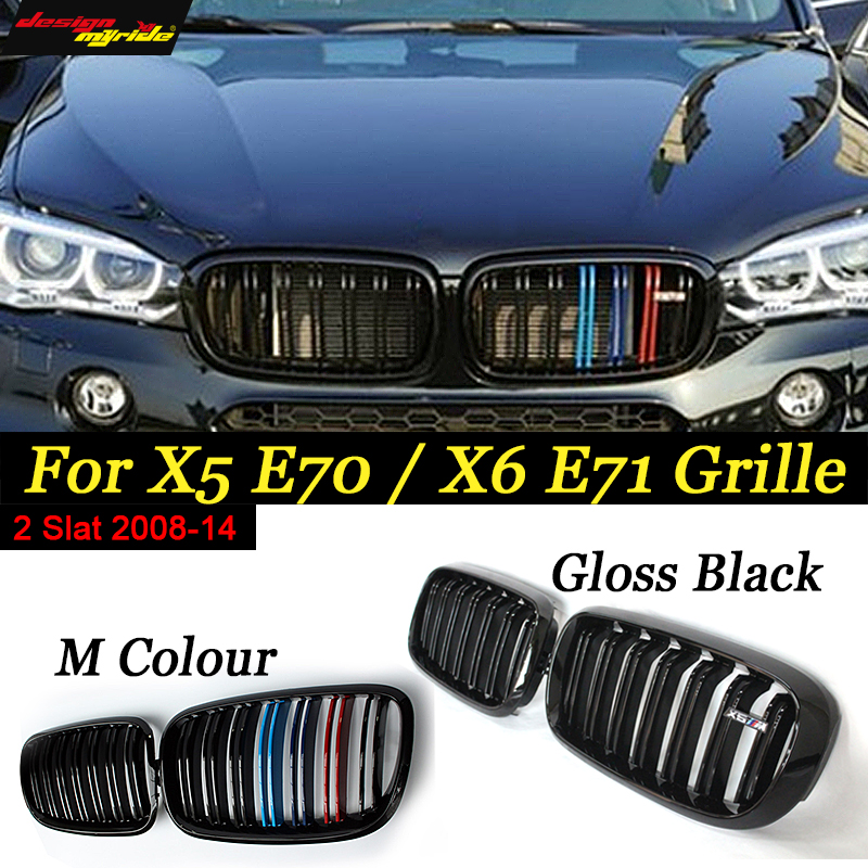xDrive30i xDrive35i xDrive48i For X5 X6 E70 E71 Front Kidney Grille M Colour and Black For BMW X5 X5M X6 X6M E70 E71 2008 14