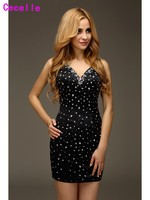 Little Black Glitter Prom Cocktail Dresses Beaded Crystals Sheer Back Short Tight Fitted Homecoming Robe De Cocktail Dress Real