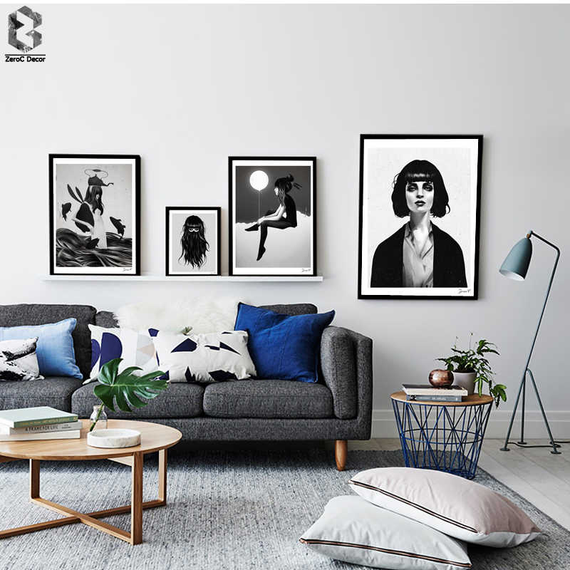 Black White Girl Portrait Printing Wall Art Poster and Print Canvas Paintings for Living Room Decor Nordic Style Bedroom Decor