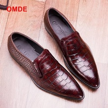 OMDE Genuine Leather Loafers Pointed toe Mens Dress Shoes Crocodile Pattern Slip On Formal Men Business Office