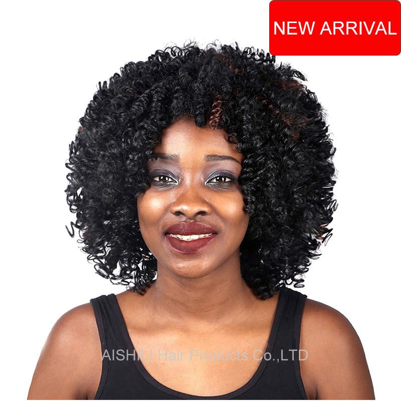 10inch Women wigs sythetic curly hair Short Afro kinky curly wig mixed Brown highlight Short