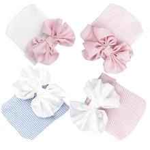 Шифоновая Шапочка с бантом для новорожденных, однотонная, розовая, синяя, мягкая, больничная шапочка для девочек, реквизит для фотосессии новорожденных, Детские аксессуары для 0-3 месяцев