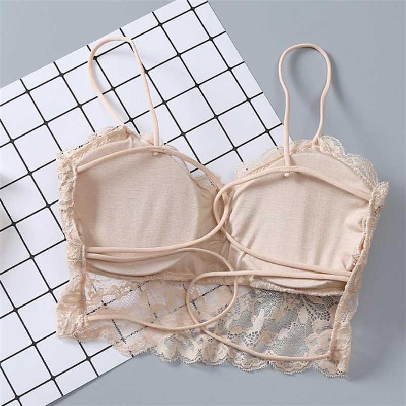 Feitong 2018 Zomer Tops Nieuwe Mode Vrouwen Sexy Vest Hebben EEN Borst Pad Dragen Ondergoed Vrouwen Tops Lace harajuku kawaii shirt