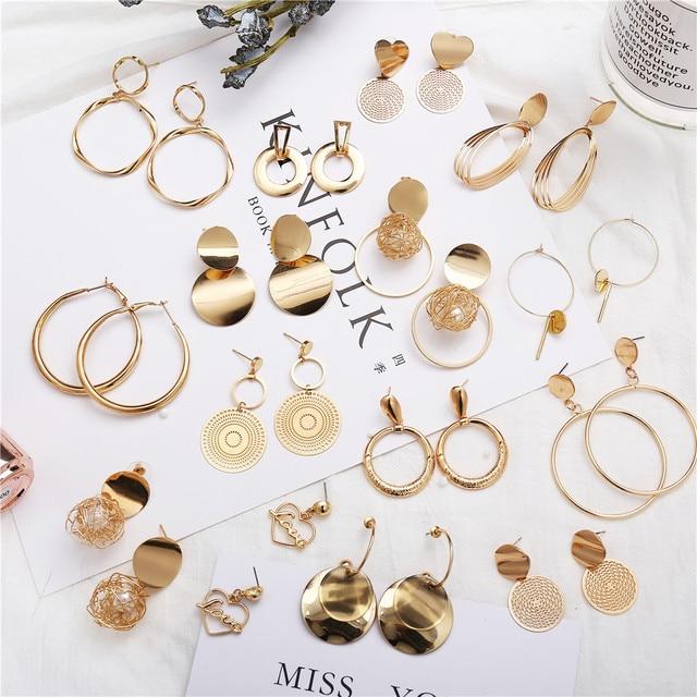 17KM Gold Geometric Dangle Earrings For Women New Design Round Heart Hollow Drop Earring Brincos Metal Statement Vintage Jewelry