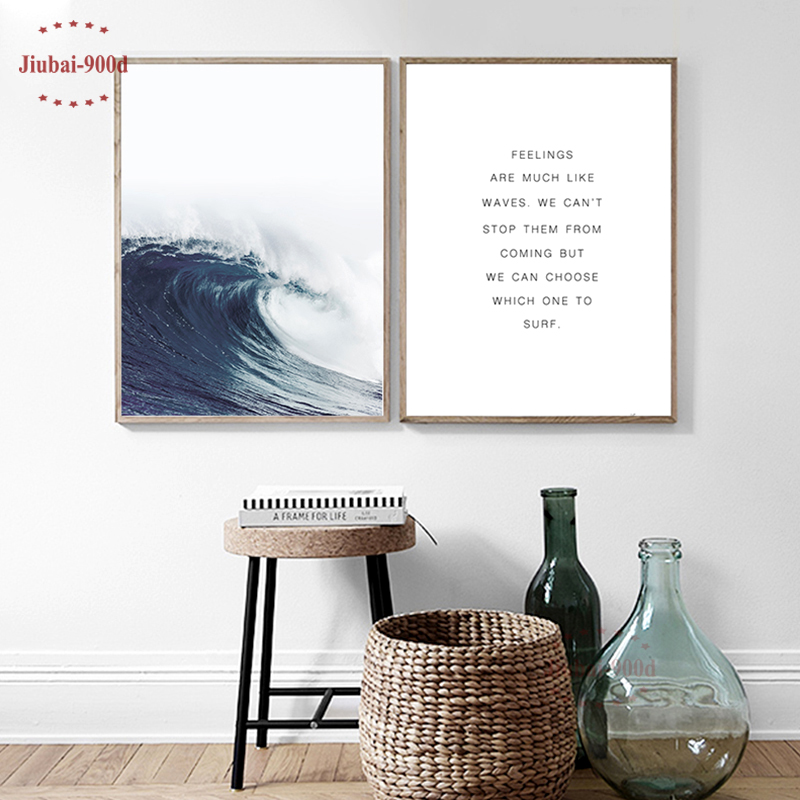 900D Posters And Prints Wall Art Canvas Painting Sea Wave Wall Pictures For Living Room Nordic Decoration NOR051