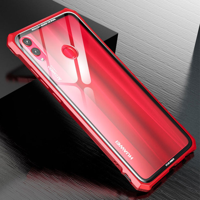 US $12 87 35% OFF|Luxury Metal Frame Bumper Case For Huawei Honor 8X Max  Hard Transparent Tempered Glass Back Cover Case For Huawei Honor 8X  Coque-in