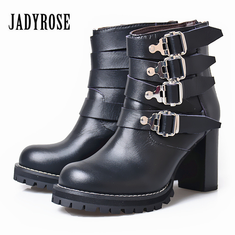Jady Rose Ankle Boots for Women Black Straps Genuine Leather Platform Shoes Woman Chunky High Heels Female Autumn Women Pumps strange heel women ankle boots genuine leather elastic booties wedge shoes woman high heels slip on women platform pumps