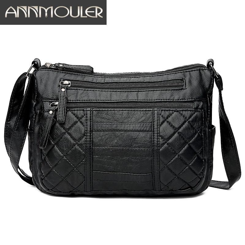 Annmouler Fashion Women Shoulder Bag Soft Pu Leather Crossbody Bag Multi-pockets Messenger Bag Ladies Washed Leather Purse Bag